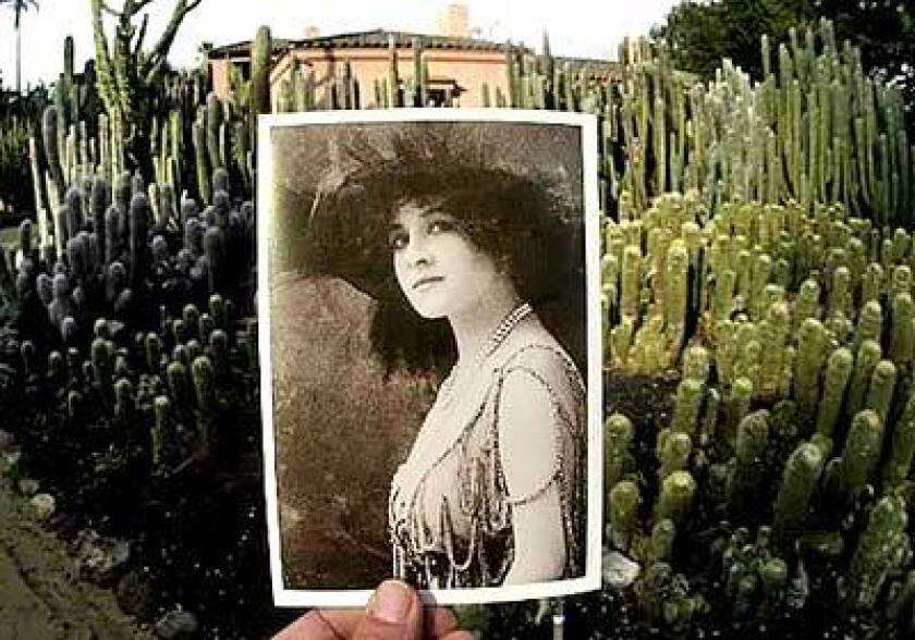 Ganna Walska created more than a dozen gardens at Lotusland, where she resided until her death at 97 in 1984. Cactuses line the driveway to the main house and cottage where she lived.