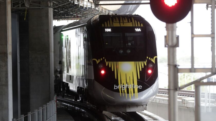 In Florida, Brightline trains are in operation between Miami and West Palm Beach. Brightline hopes to build a rail project between Southern California and Las Vegas.