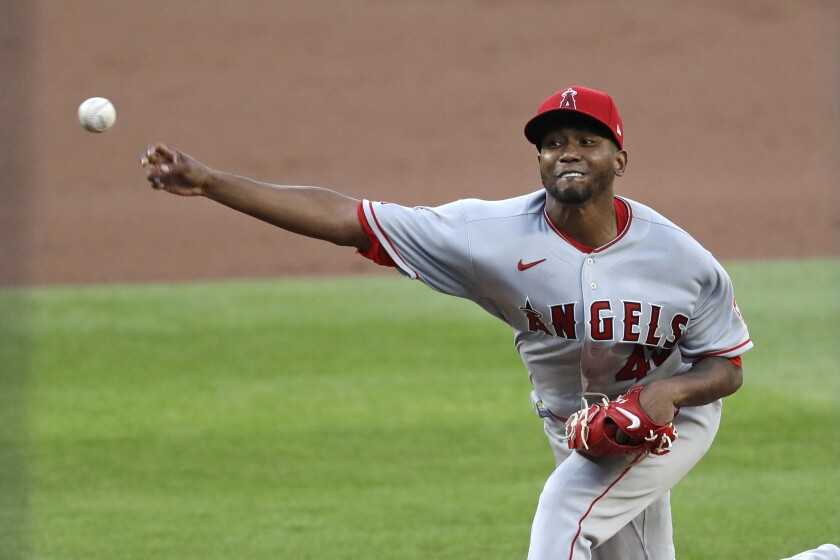 Angels starting pitcher Julio Teheran throws against the Seattle Mariners on Aug. 5