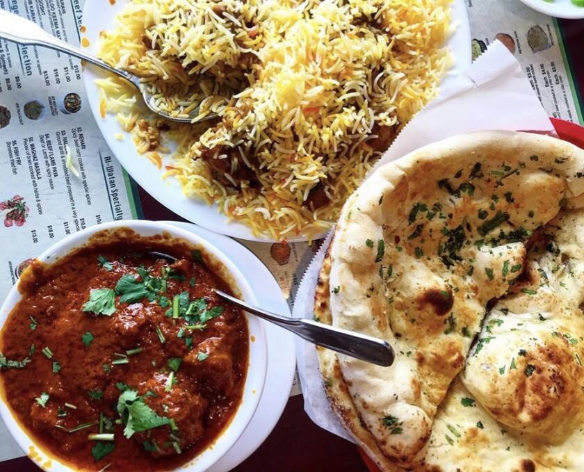 Biryani, chicken tikka and naan