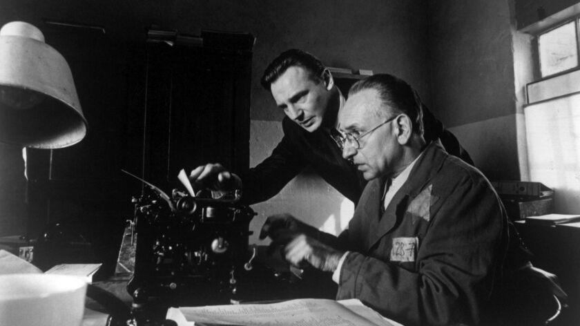Liam Neeson and Ben Kingsley in a scene from the movie Schindler's List.