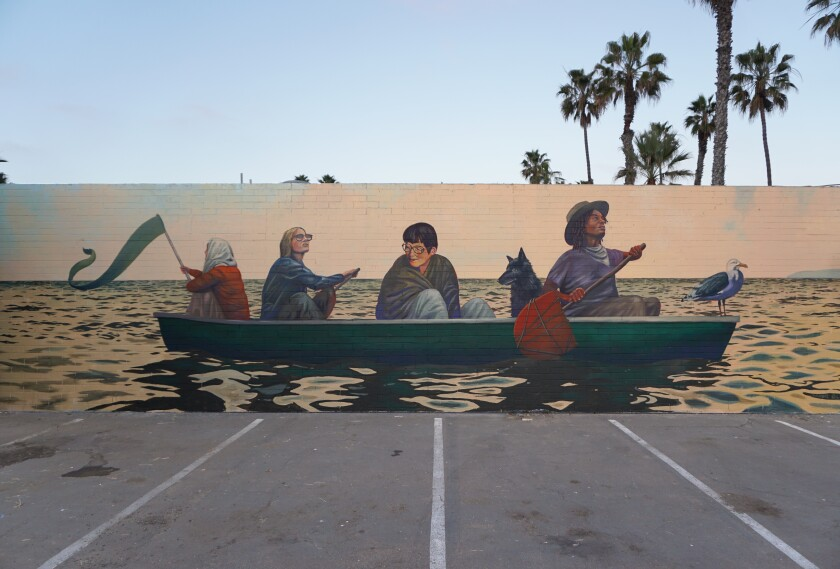 Aaron Glasson's mural, currently unnamed, painted at local eatery Little Lion Cafe on Sunset Cliffs Boulevard