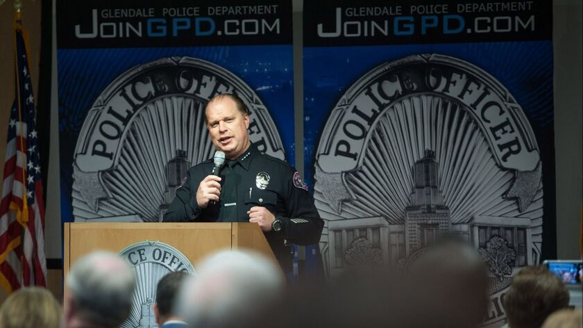 Glendale Chief of Police Carl Povilaitis speaks to attendees of Wednesday's grand opening of the dep