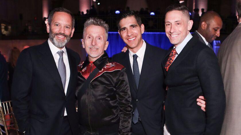 William Derrough from left, Simon Doonan, Alvaro Derrough-Salas and Jonathan Adler