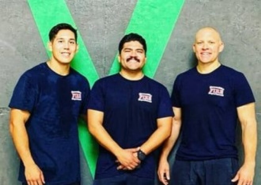 Escondido Fire Department firefighter/paramedics Jonathan San Nicolas and Ricky Tlapala, and engineer Jason Berg took part in the 555fitness.org event that raised funds to provide equipment for firehouse gyms.