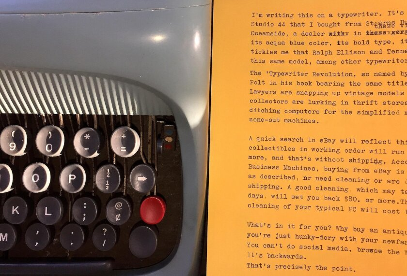 The Underwood-Olivetti Studio 44 has bold, spacious Pica type which pops on yellow paper, a longtime favorite of poets.