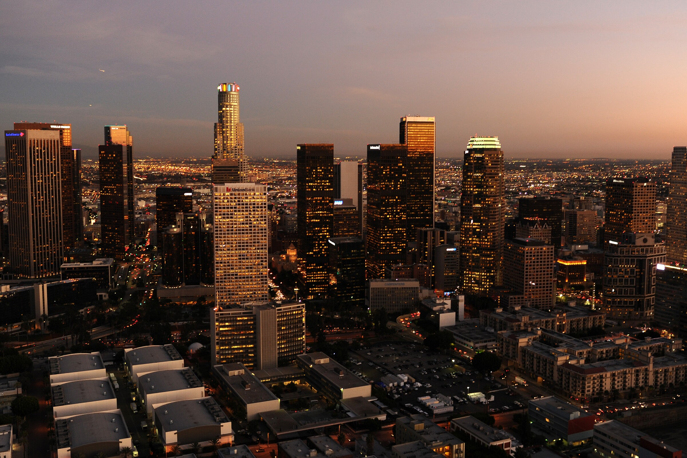 An aerial view of downtown Los Angeles.
