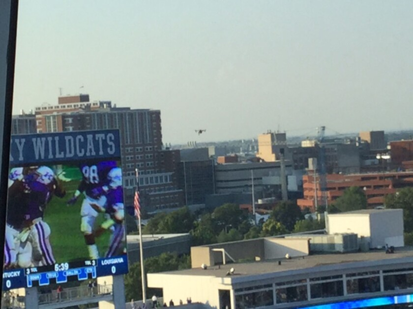 A drone, center, crashed into a part of newly renovated Commonwealth Stadium before the Wildcats faced Louisiana-Lafayette in the season opener, Kentucky officials confirmed Sept. 5, 2015.