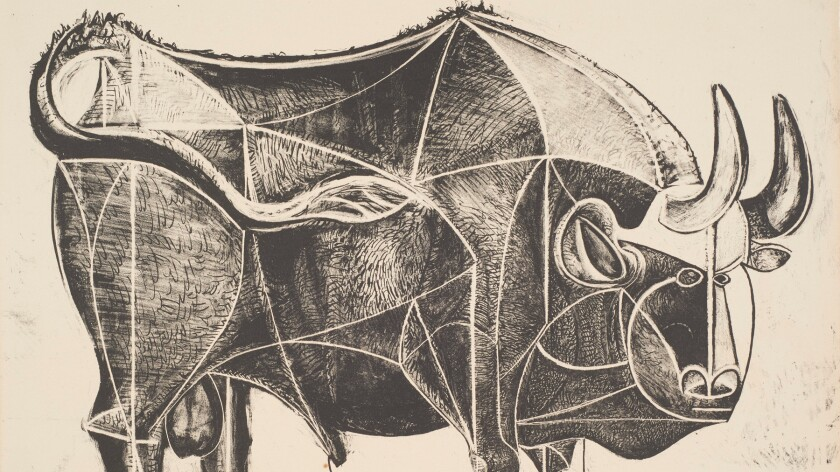 """A detail from Pablo Picasso's """"The Bull,"""" 1945, on view at the Norton Simon Museum."""