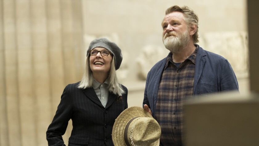 "Diane Keaton and Brendan Gleeson in the movie ""Hampstead."""