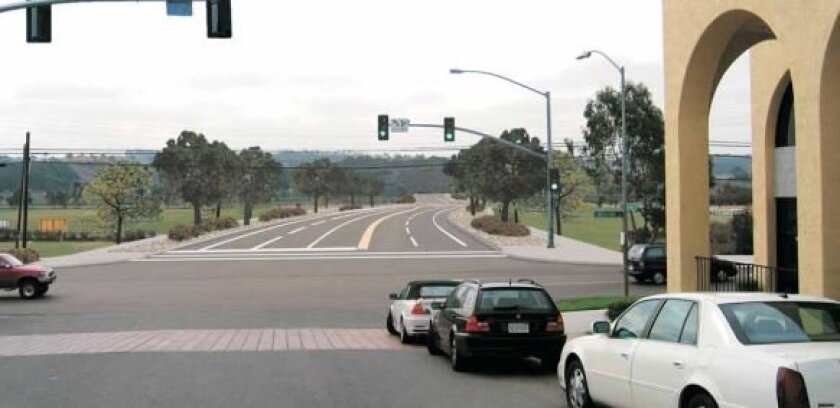 The new, re-aligned El Camino Real will connect with De la Valle Place