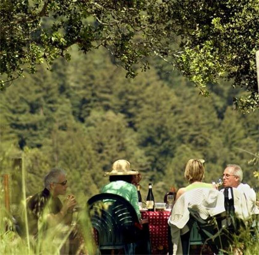 A family picnics at Windy Oaks Estate, one of more than 50 small wineries in the Santa Cruz Mountains winemaking region. The appellation's wines garner praise and prizes, but tasting rooms are uncrowded.
