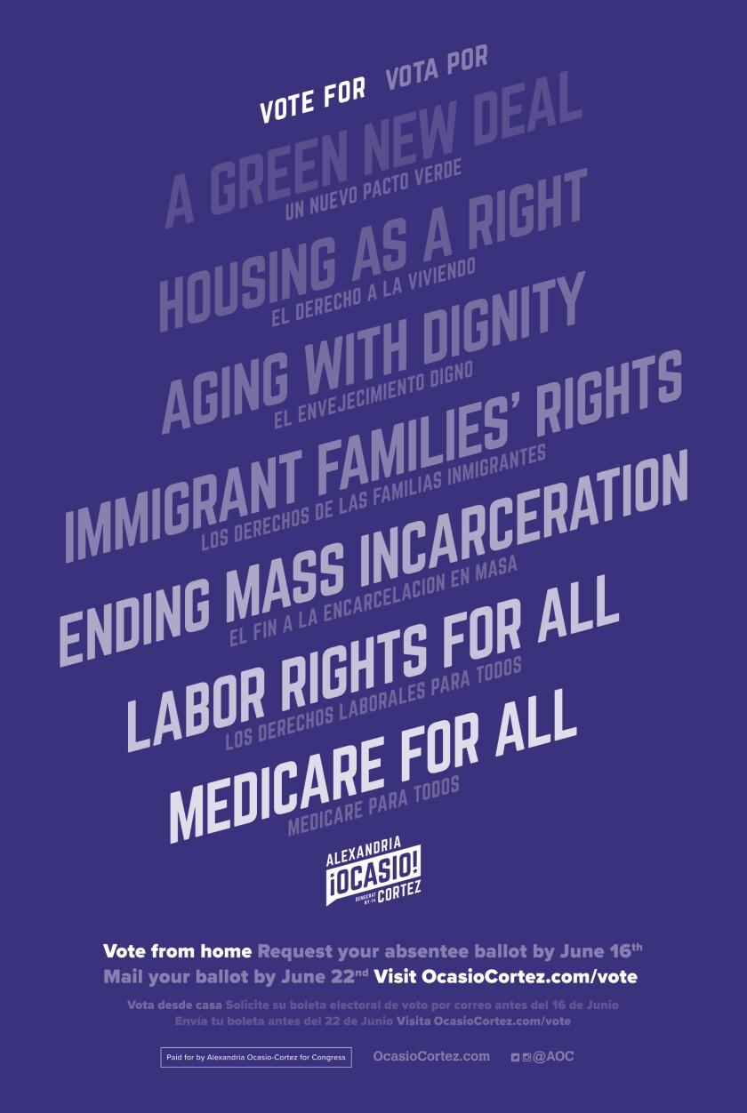 Un cartel de campaña que promueve el Green New Deal, entre otras cosas.