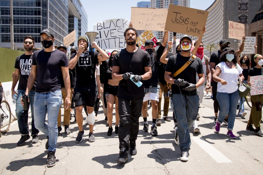 Michael B. Jordan, Kendrick Sampson participate in Hollywood talent agencies'  march to support Black Lives Matter protests