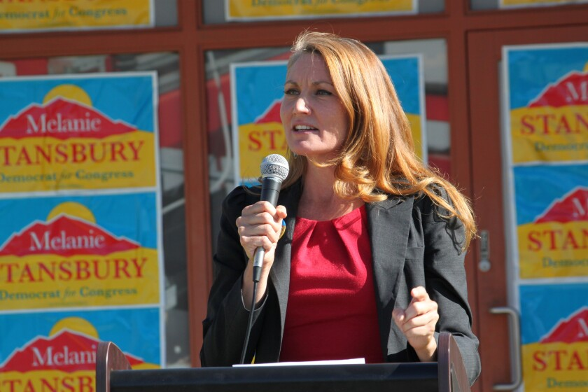 Melanie Stansbury speaks at a campaign rally
