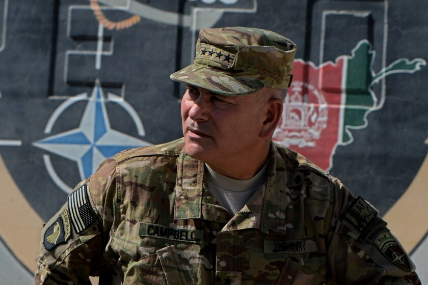 Gen. John Campbell attends a handover ceremony before the British and U.S. military withdrawal from the Camp Bastion-Leatherneck complex at Lashkar Gah in Helmand province, Afghanistan, in October 2014.
