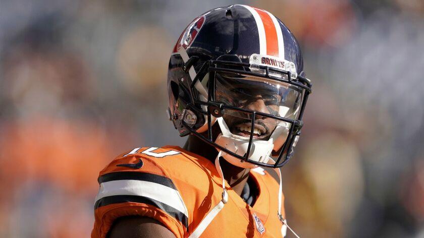 FILE - In this Sunday, Nov. 25, 2018, file photo, Denver Broncos wide receiver Emmanuel Sanders (10)