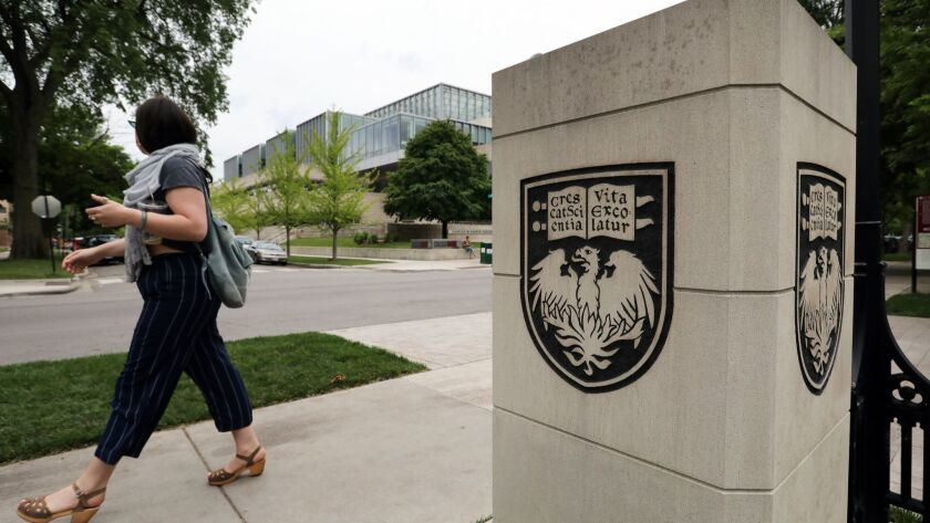 The University of Chicago has fallen from the No. 1 spot in a U.S. News & World Report ranking of the nation's top MBA programs. The Charles M. Harper Center at the University of Chicago's Booth School of Business is seen June 14, 2018.