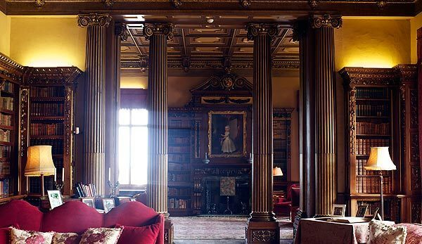 """NEWBURY, ENGLAND - MARCH 15: A detail of the library in Highclere Castle on March 15, 2011, in Newbury, England. Highclere Castle has been the ancestral home of the Carnarvon family since 1679. It has recently been made famous as the setting for the ITV series """"Downton Abbey"""" starring Hugh Bonneville, Maggie Smith and Elizabeth McGovern."""