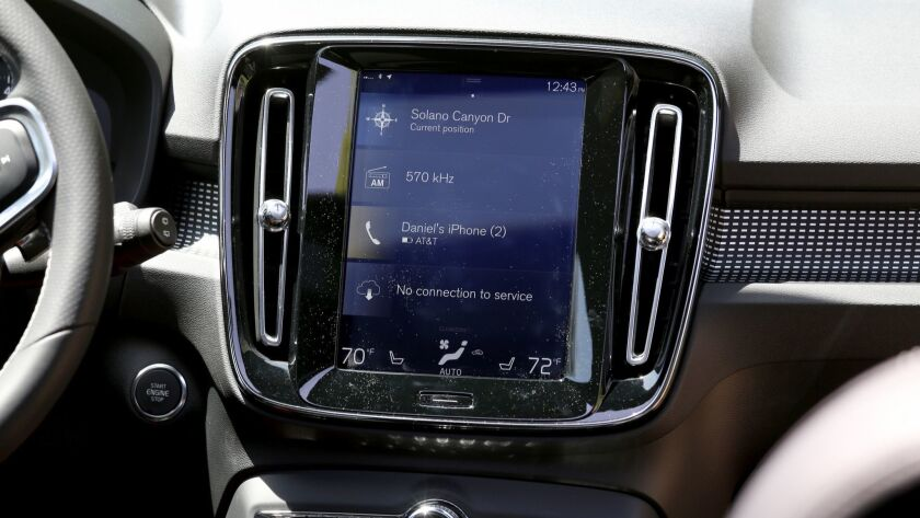 LOS ANGELES CA. APRIL 10, 2018: The dashboard of the Volvo XC40 SUV on April 19, 2018.. This is for