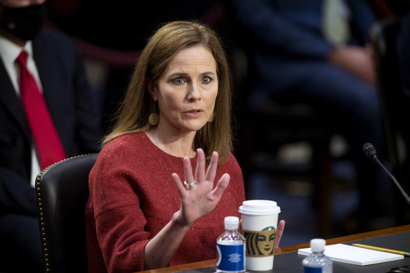 Supreme Court nominee Amy Coney Barrett at her Senate Judiciary Committee confirmation hearing Tuesday.