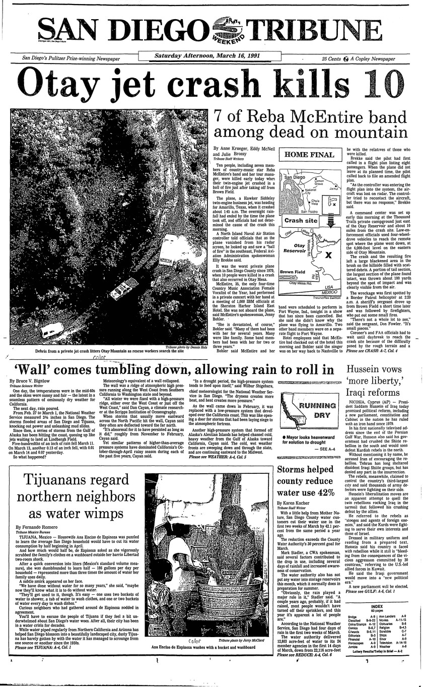 Plane crash news on front page of the San Diego Tribune from March 16, 1991