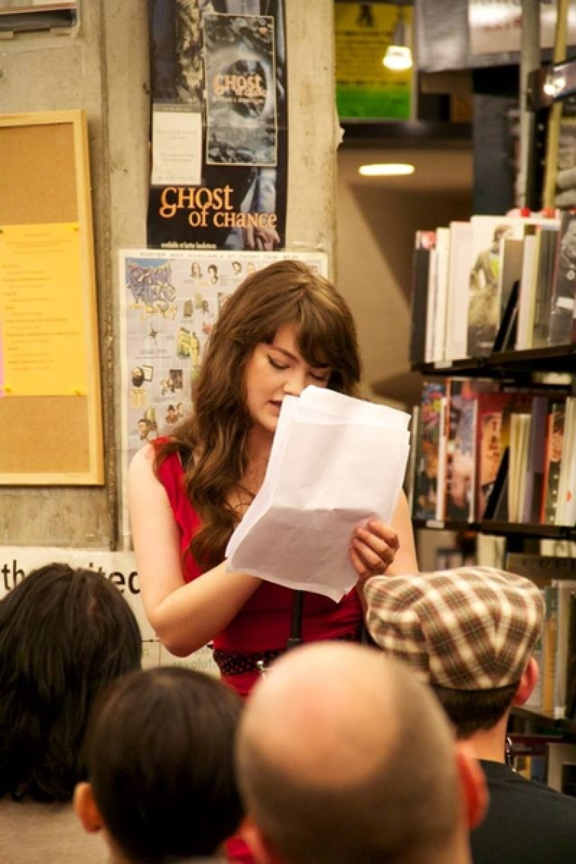 Marie Calloway reads at her book launch at St. Mark's Bookshop in New York.