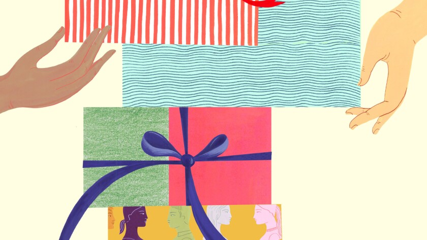 """An illustration for Patt Morrison's column, """"How to deal with the presence of presents? It's truly a"""