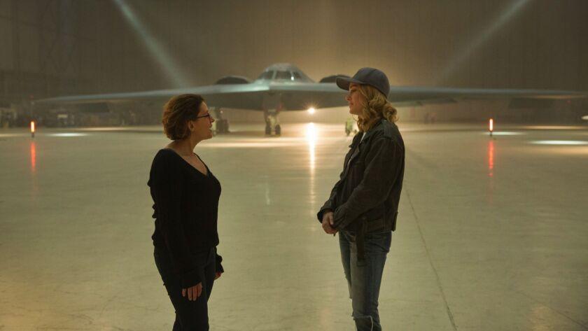 Marvel Studios' CAPTAIN MARVEL. L to R: Director Anna Boden and Brie Larson (Captain Marvel) on set