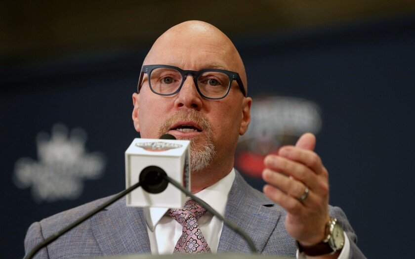 New Orleans Pelicans executive vice president of basketball operations David Griffin speaks at a news conference introducing their first-round draft pick Zion Williamson at their practice facility in Metairie, La., Friday, June 21, 2019. (AP Photo/Gerald Herbert)
