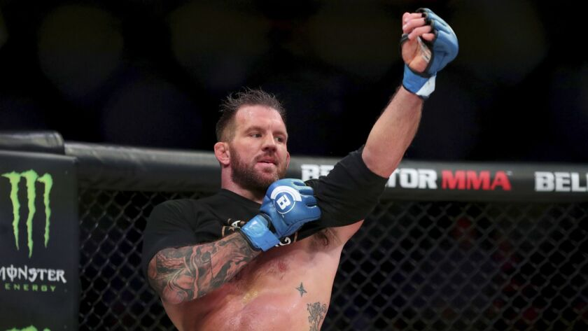 Ryan Bader is seen after his win over Matt Mitrione after a heavyweight mixed martial arts bout at B
