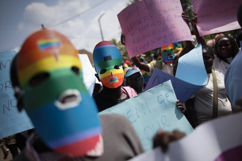 Kenyan supporters of the LGBT community protest Uganda's anti-gay bill outside the Ugandan High Commission in Nairobi, Kenya, in February. Uganda's Constitutional Court on Friday annulled an anti-gay bill that introduced lengthy prison terms for people convicted of homosexual activity.