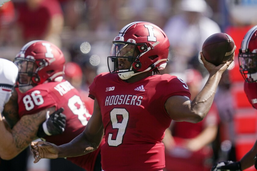 Indiana quarterback Michael Penix Jr. (9) throws during the first half of an NCAA college football game against Cincinnati, Saturday, Sept. 18, 2021, in Bloomington, Ind. (AP Photo/Darron Cummings)