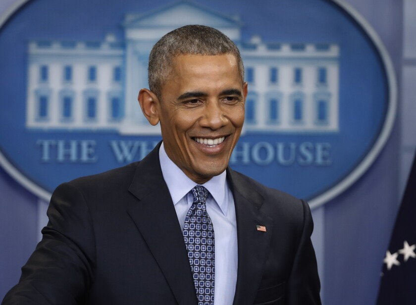 "FILE - In this Jan. 18, 2017 file photo, President Barack Obama smiles during his final presidential news conference in the briefing room of the White House in Washington. More than a dozen ""60 Minutes"" interviews with Obama, beginning when he was a U.S. Senator, have been compiled into an audio release, ""Barack Obama: The 60 Minutes Interviews"" coming out Oct. 13. (AP Photo/Pablo Martinez Monsivais, File)"