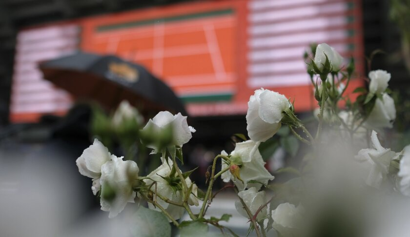 Rain falls on roses at the Roland Garros stadium where the French Open Tennis tournament matches are delayed, Monday, May 23, 2016 in Paris. (AP Photo/Alastair Grant)