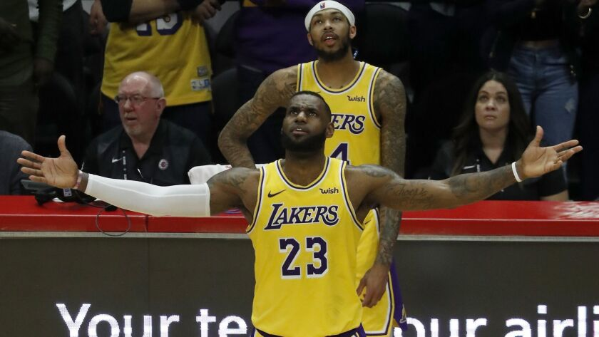 LOS ANGELES, CALIF. - JAN. 31, 2019. Lakers forward LeBron James expresses frustration as the Laker