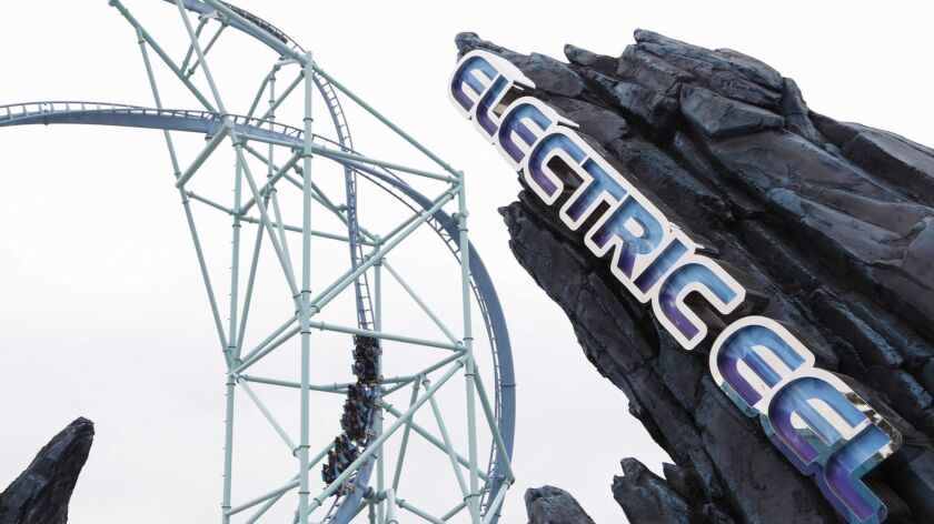 SeaWorld San Diego opens the Electric Eel coaster to the public. Media and coaster enthusiasts are the first riders.
