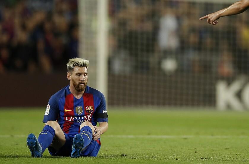 EL delantero argentino Lionel Messi durante el partido contra el Atlético de Madrid, el miércoles 21 de septiembre de 2016. (AP Foto/Manu Fernandez) ** Usable by HOY, ELSENT and SD Only **