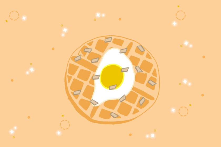 Illustration of a fried egg on top of a waffle.
