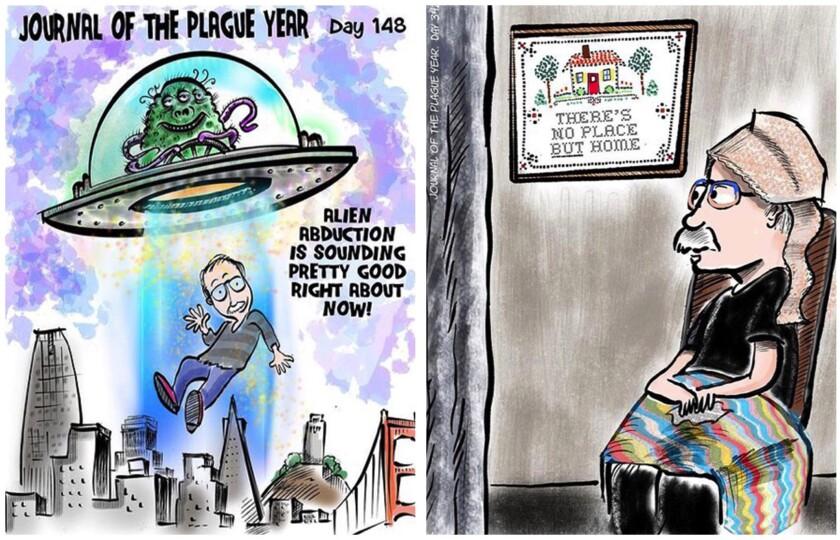 Diptych of two Gary Handman cartoon posts.