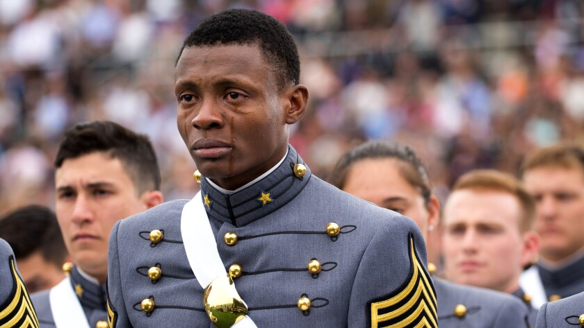 Alix Idrache, who came to the United States from Haiti in 2009, at his graduation from West Point.