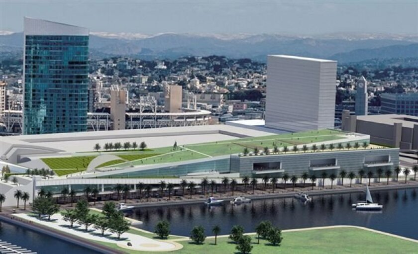 A five-acre rooftop park is part of the design for the planned expansion of the San Diego Convention Center