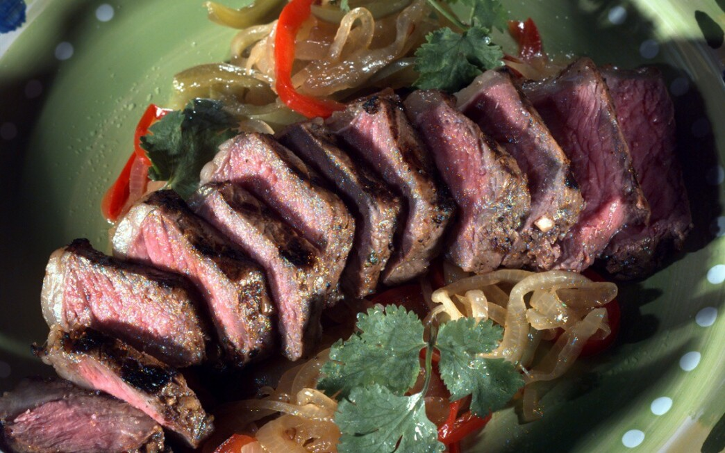 Spicy Grilled Steak With Pineapple-Sauteed Onions and Peppers