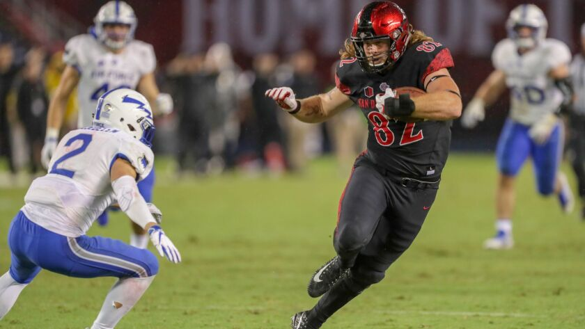 San Diego State tight end Parker Houston scores the winning touchdown against Air Force on a 29-yard reception with less than four minutes remaining in the game.