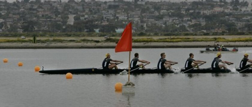 Cal crosses the finish line well ahead of Stanford to capture the 2011 San Diego Crew Classic Copley Cup. UCSD finished fifth.