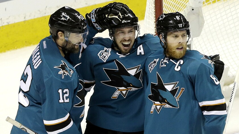 The Sharks have plenty of veteran leadership, including (from left), Patrick Marleau, Logan Couture and Joe Pavelski.