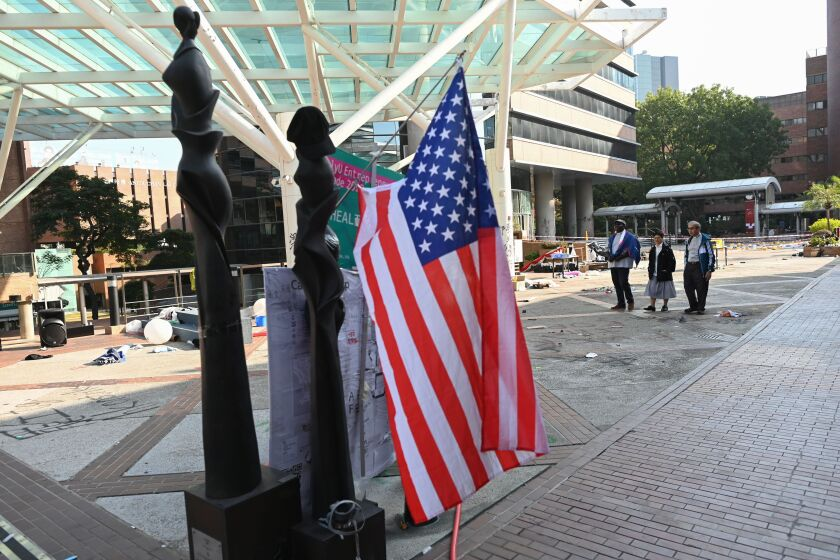 A U.S. flag is displayed Nov. 21 on the campus of Hong Kong Polytechnic University.