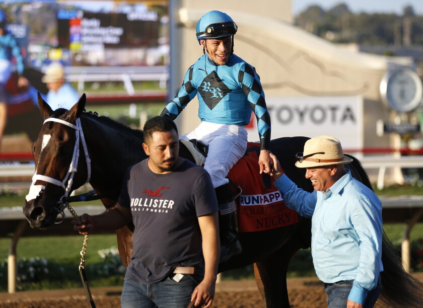 Norberto Arroyo Jr. aboard a horse at Del Mar.