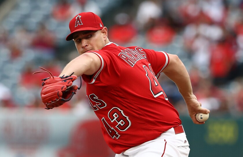 Garrett Richards, here pitching for the Angels, will make his Padres debut Monday in Milwaukee.