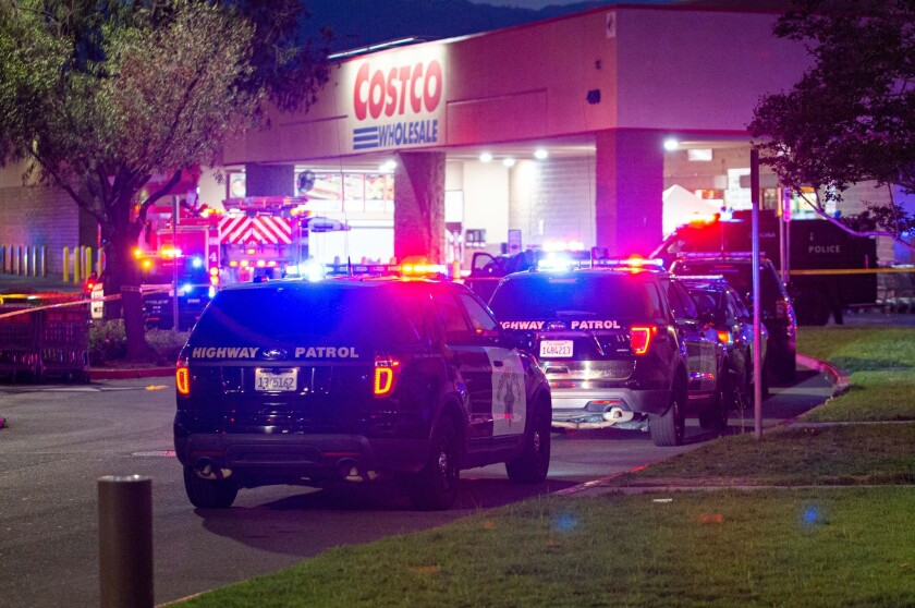 The site of the lethal shooting at a Costco by an off-duty police officer